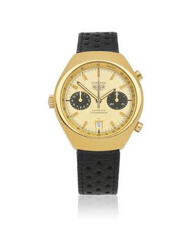 Heuer. A gold plated and stainless steel automatic calendar chronograph wristwatch  Carrera, Ref: 110.515, Circa 1975