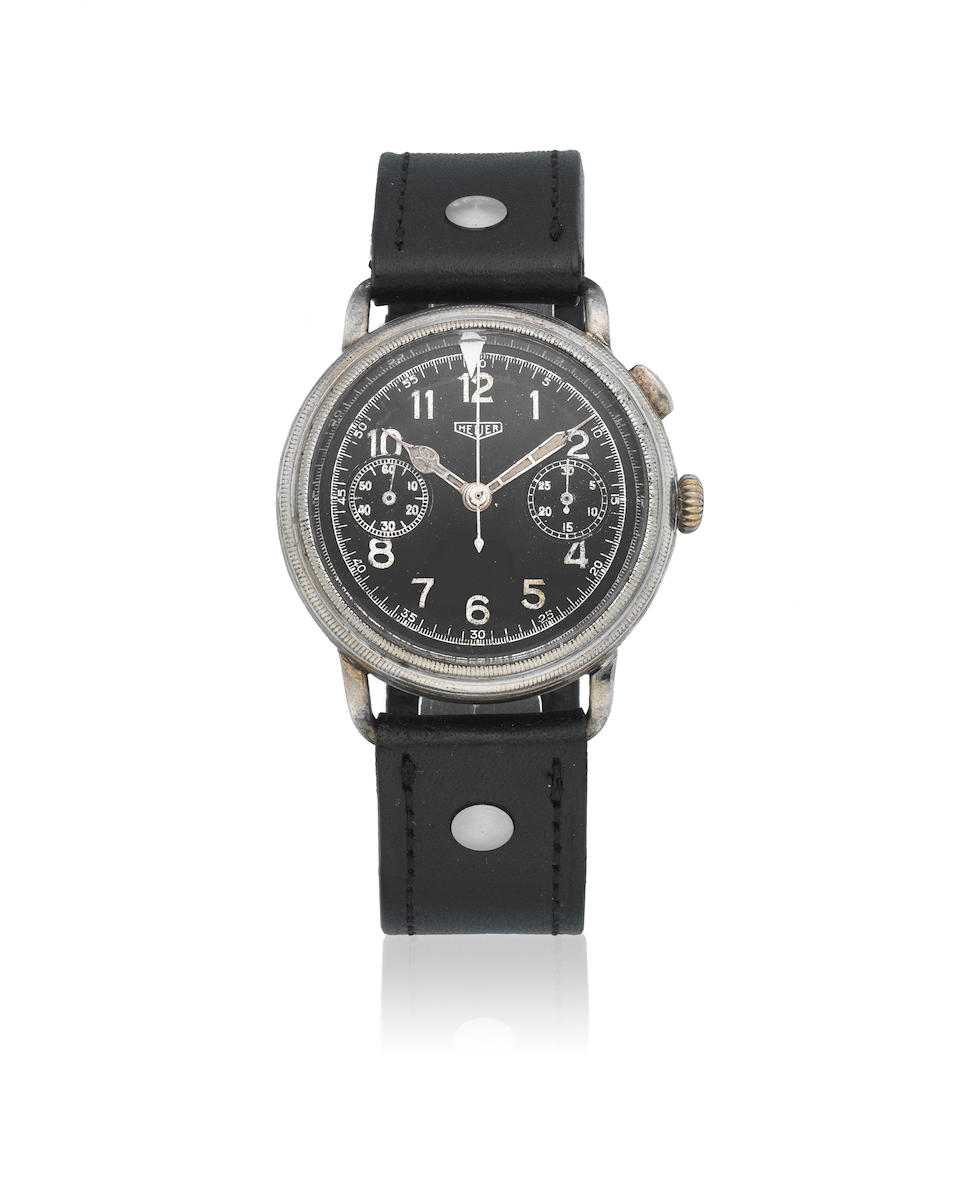 Heuer. A chrome plated manual wind single button chronograph wristwatch  Flieger Chronograph, Ref: 358, Circa 1940