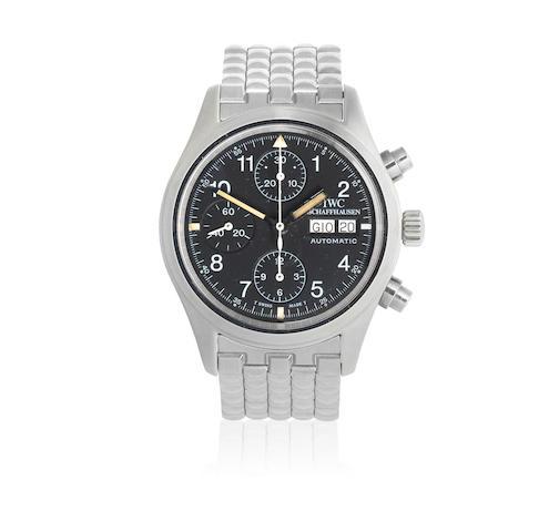 IWC. A stainless steel automatic calendar chronograph bracelet watch  Der Fliegerchronograph, Ref: 3706, Circa 2000