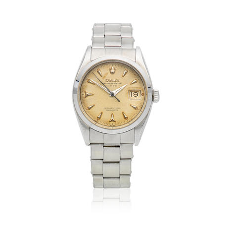 Rolex. A stainless steel automatic calendar bracelet watch with roulette date wheel  Oyster Perpetual Date, Ref: 6534, Circa 1956