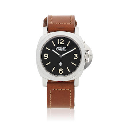Panerai. A stainless steel manual wind cushion form wristwatch Pre-Vendome Luminor, Ref: 5218-201/A, Circa 1993