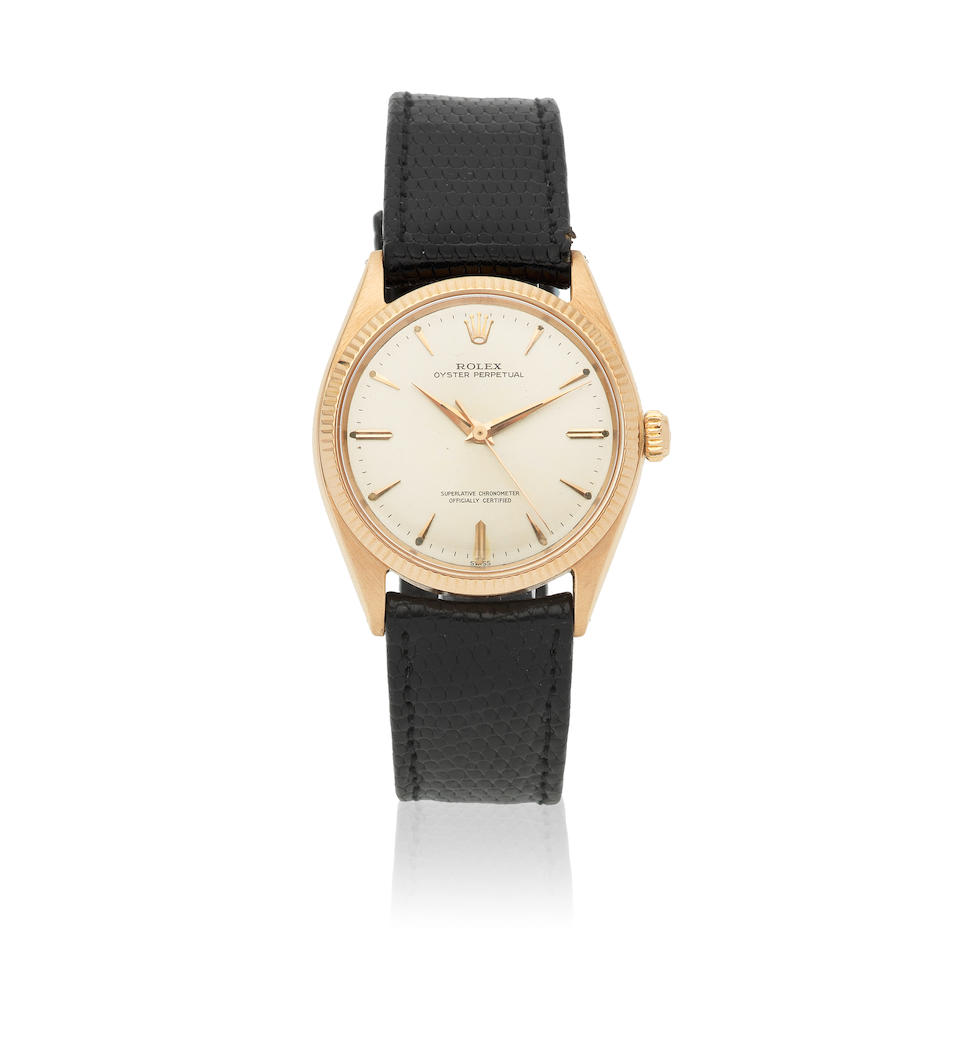 Rolex. An 18K rose gold automatic wristwatch  Oyster Perpetual, Ref: 1005, Circa 1962