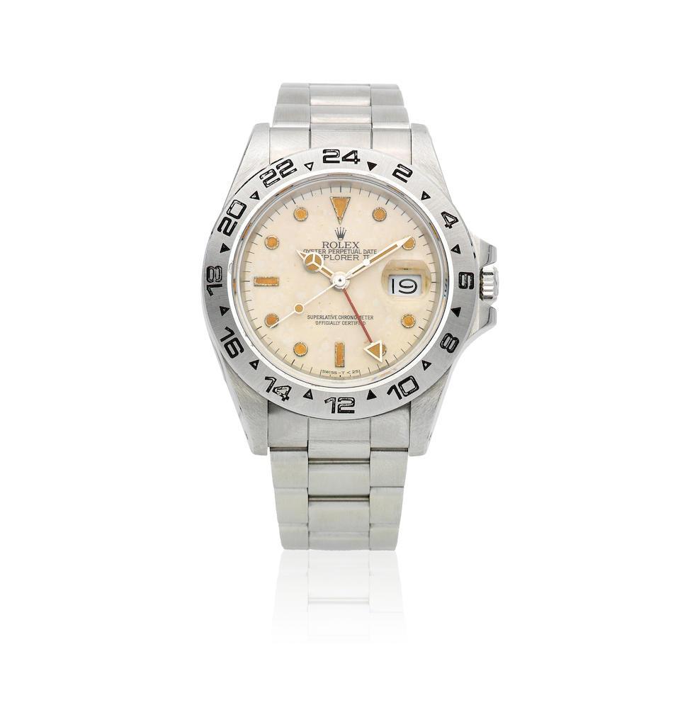 Rolex. A stainless steel automatic calendar bracelet watch  Explorer II, Ref: 16550, Circa 1987