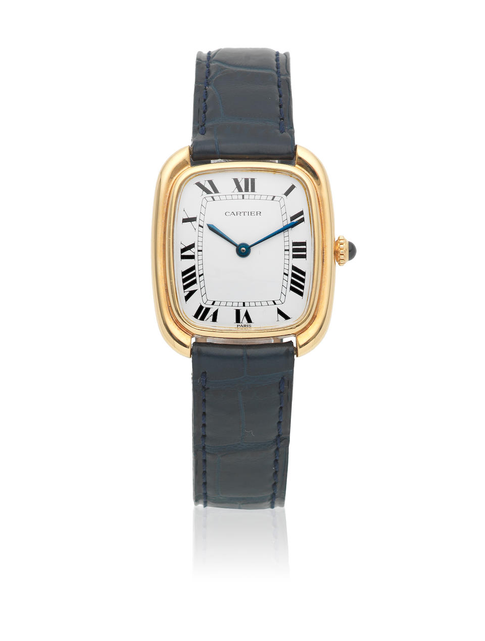 Cartier. A mid-size 18K gold automatic rectangular wristwatch  Ellipse, Circa 1990