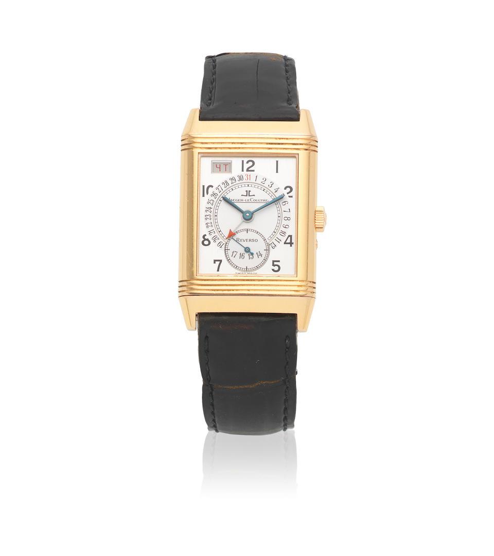 Jaeger-LeCoultre. An 18K gold manual wind calendar reversible rectangular wristwatch  Reverso, Ref: 270.236, Circa 2010