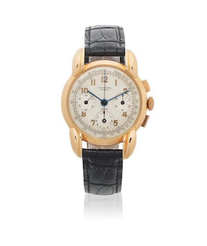 Universal Genève. An 18K rose gold manual wind chronograph wristwatch with oversized lugs  Compax, Circa 1950