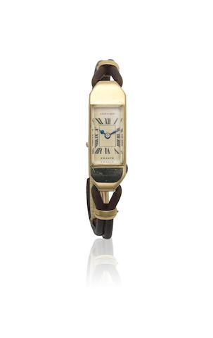 Cartier. A lady's 18K gold manual wind back winding rectangular wristwatch  Duoplan, Ref: 23612, Circa 1940