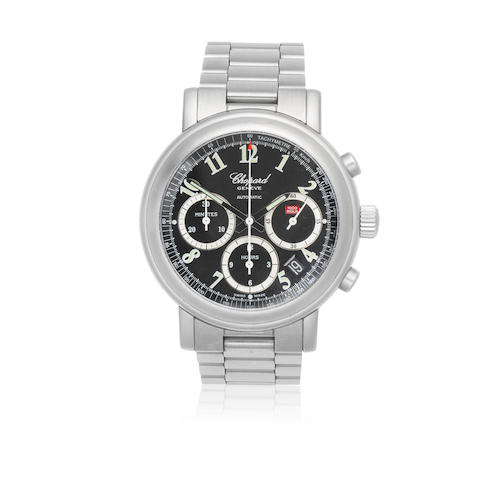 Chopard. A stainless steel Limited Edition automatic calendar chronograph bracelet watch  Mille Miglia Jacky Ickx, No.125/1000, Ref: 8388, Circa 2010