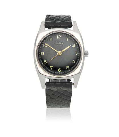 Lemania. A stainless steel manual wind military cushion form wristwatch issued to the Czech Air Force Circa 1950