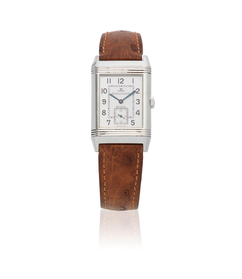 Jaeger-LeCoultre. A stainless steel manual wind reversible rectangular wristwatch  Reverso Grande Taille, Ref: 270.8.62, Sold 5th April 2001