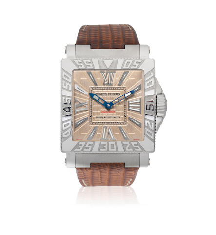 Roger Dubuis. A stainless steel automatic square wristwatch  Just For Friends Sports Activity, No.217/888, Circa 2005