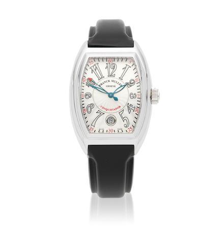 Franck Muller. A stainless steel automatic calendar tonneau form wristwatch  Conquistador, Ref: 8005 SC, Circa 2005