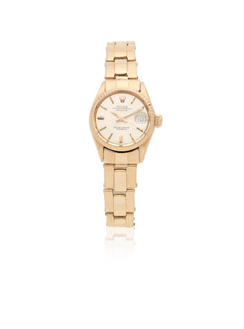Rolex. A lady's 18K rose gold automatic bracelet watch  Datejust, Ref: 6517, Circa 1963