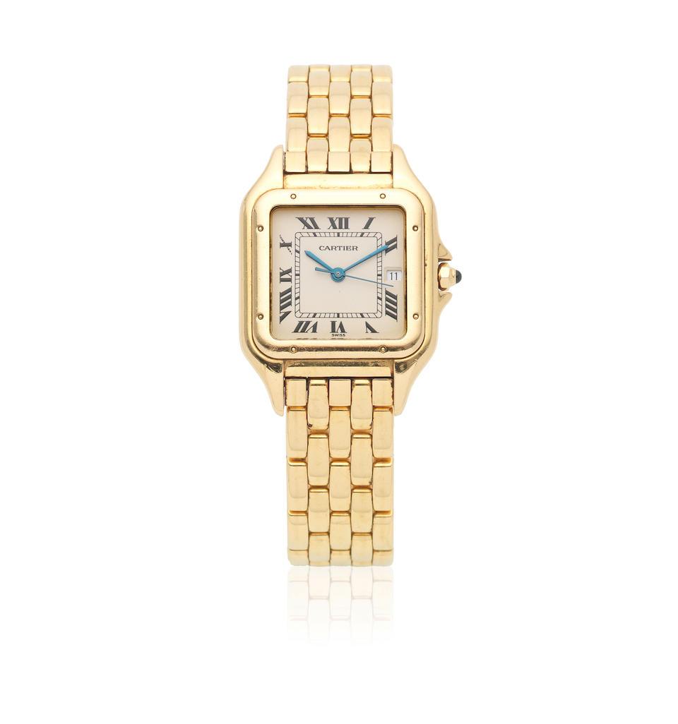 Cartier. A midsize 18K gold quartz calendar bracelet watch  Panthère, Ref: 1060, Circa 1990