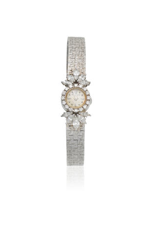 Jaeger-LeCoultre. A lady's 18K white gold and diamond set manual wind cocktail bracelet watch Circa 1953