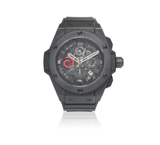Hublot. A black ceramic and titanium skeletonised calendar chronograph wristwatch  King Power Alinghi, No.234/400, Circa 2010