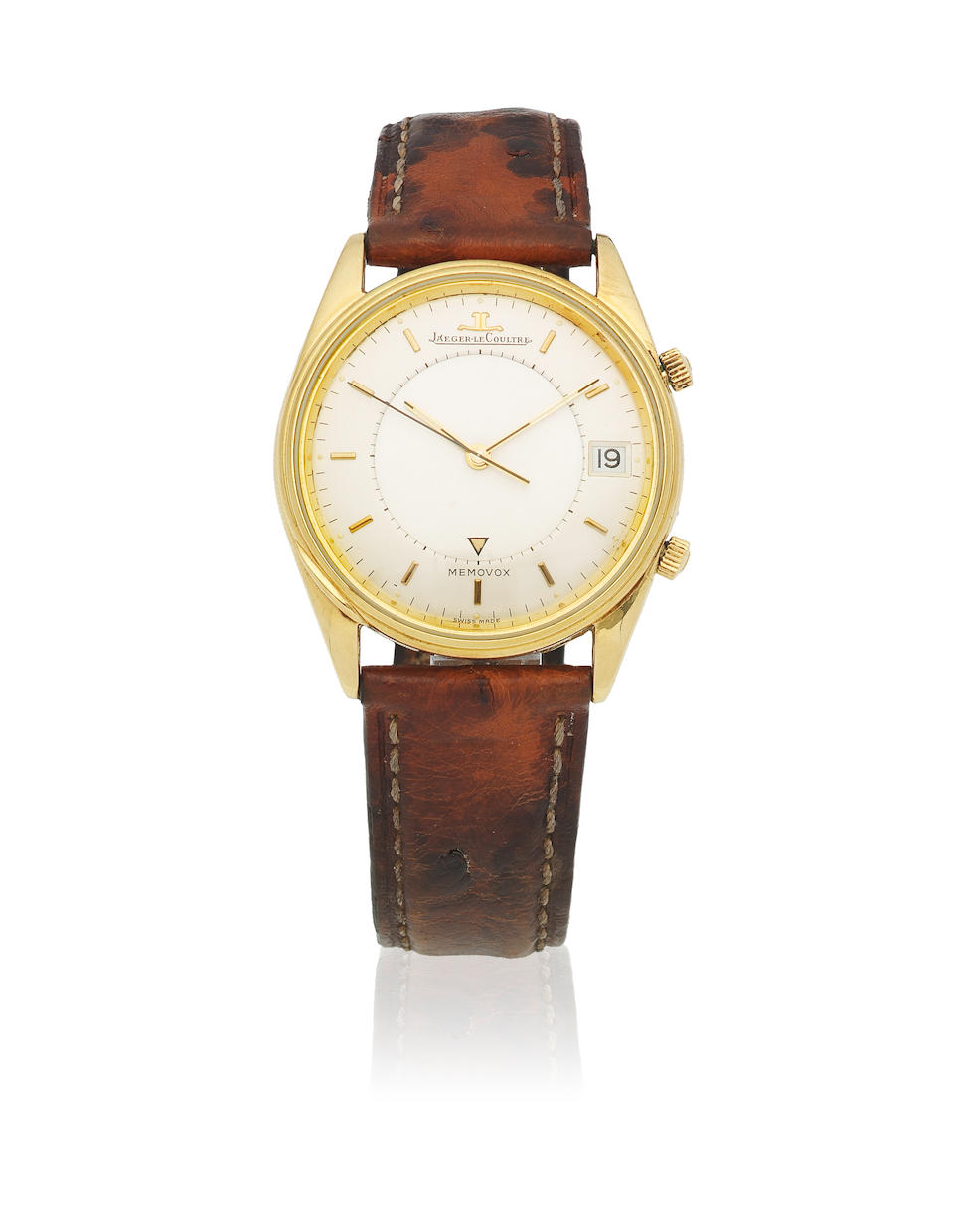 Jaeger-LeCoultre. A Limited Edition 18K gold automatic calendar wristwatch with alarm  Memovox, Sold 6th November 1986