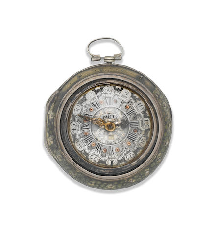 Tarts. A continental silver, gilt metal and shagreen triple cased key wind pocket watch with repoussé decoration for the Dutch market London Hallmark for 1774