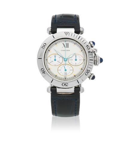 Cartier. A stainless steel quartz calendar chronograph wristwatch  Pasha, Ref: 1050 1, Circa 1995