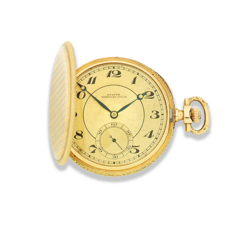 Zenith for Eberhard, Milan. An 18K two colour gold keyless wind full hunter pocket watch Circa 1910