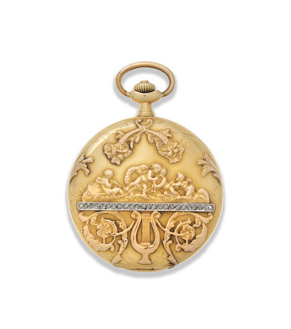 Movado. An 18K gold and diamond set keyless wind full hunter pocket watch Circa 1910