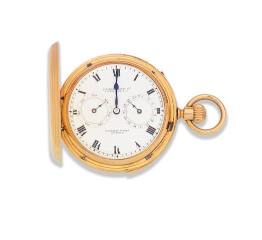 Sir John Bennett Ltd, 65 Cheapside E.C. & 105 Regent St, London. W. An 18K gold keyless wind calendar quarter repeating full hunter pocket watch London Hallmark for 1876