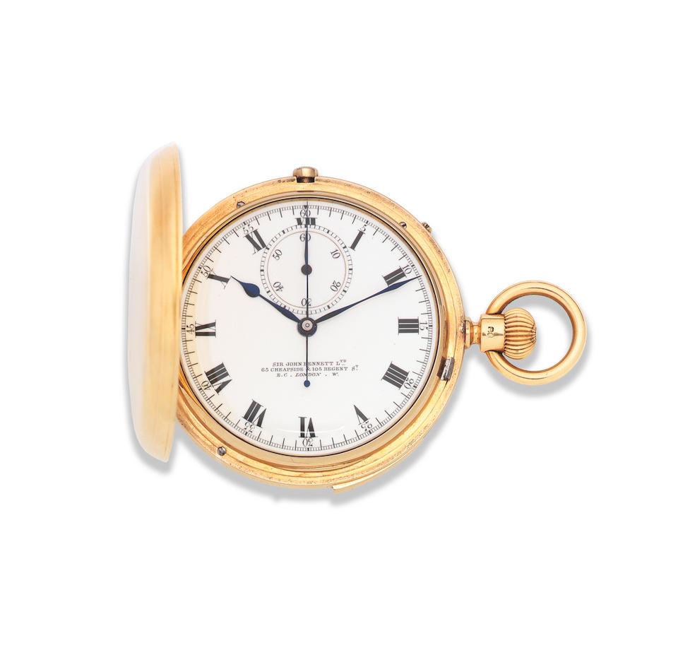 Sir John Bennett, 65 & 64 Cheapside, London. A good 18K gold keyless wind chronograph quarter repeating full hunter pocket watch London Hallmark for 1885
