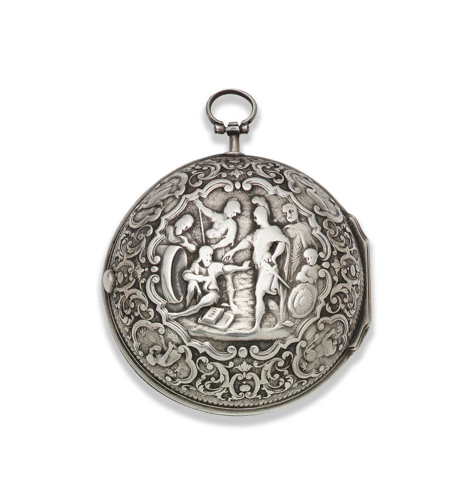 Langin. A continental silver key wind pair case pocket watch with cast decoration depicting Alexander the Great and Diogenes Circa 1760
