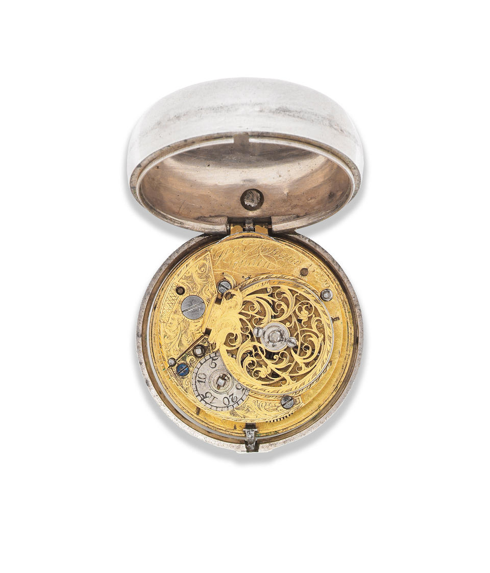 George Graham, London. A later cased silver key wind open face pair case pocket watch Circa 1740, later case with London Hallmark for 1775