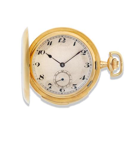 Vulcain. An 18K gold keyless wind minute repeating full hunter pocket watch Circa 1900