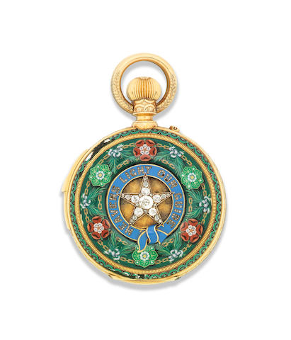 LeRoy Et Fils, Paris. A fine gold, enamel and diamond set minute repeating perpetual calendar chronograph pocket watch with barometer and thermometer Circa 1900