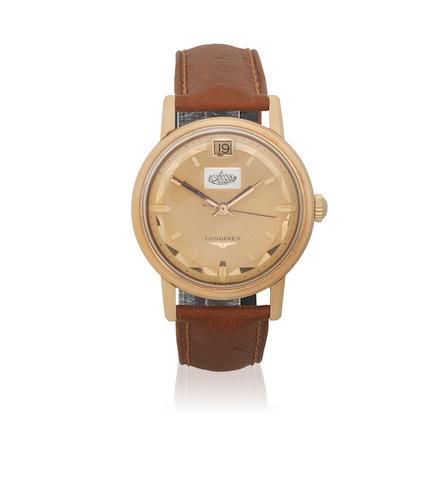 Longines. An 18K rose gold automatic calendar wristwatch with cartouche bearing the name of Abdullah al-Mubarak al-Sabah to dial  Conquest, Ref: 9025 4, Circa 1965