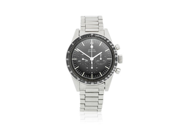 Omega. A stainless steel manual wind chronograph bracelet watch  Speedmaster, Ref: ST 105.003-65, Sold 28th December 1967