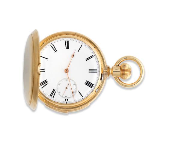 An 18K gold keyless wind full hunter minute repeating pocket watch London Hallmark for 1880