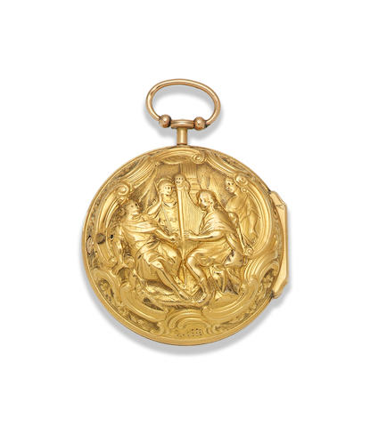 Rayment, London. A gold key wind pair case pocket watch with repoussé decoration London Hallmark for 1766