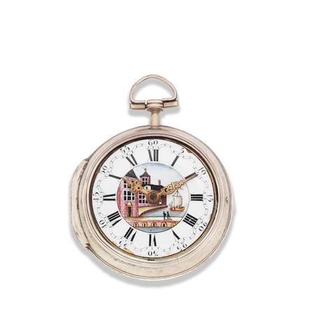 John Rayment, Huntingdon. A silver key wind pair case pocket watch London Hallmark for 1764