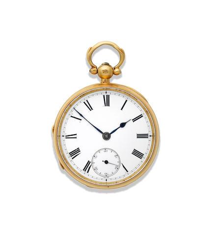 James Pecolier Crowder. An 18K gold keyless wind open face pocket watch London Hallmark for 1847