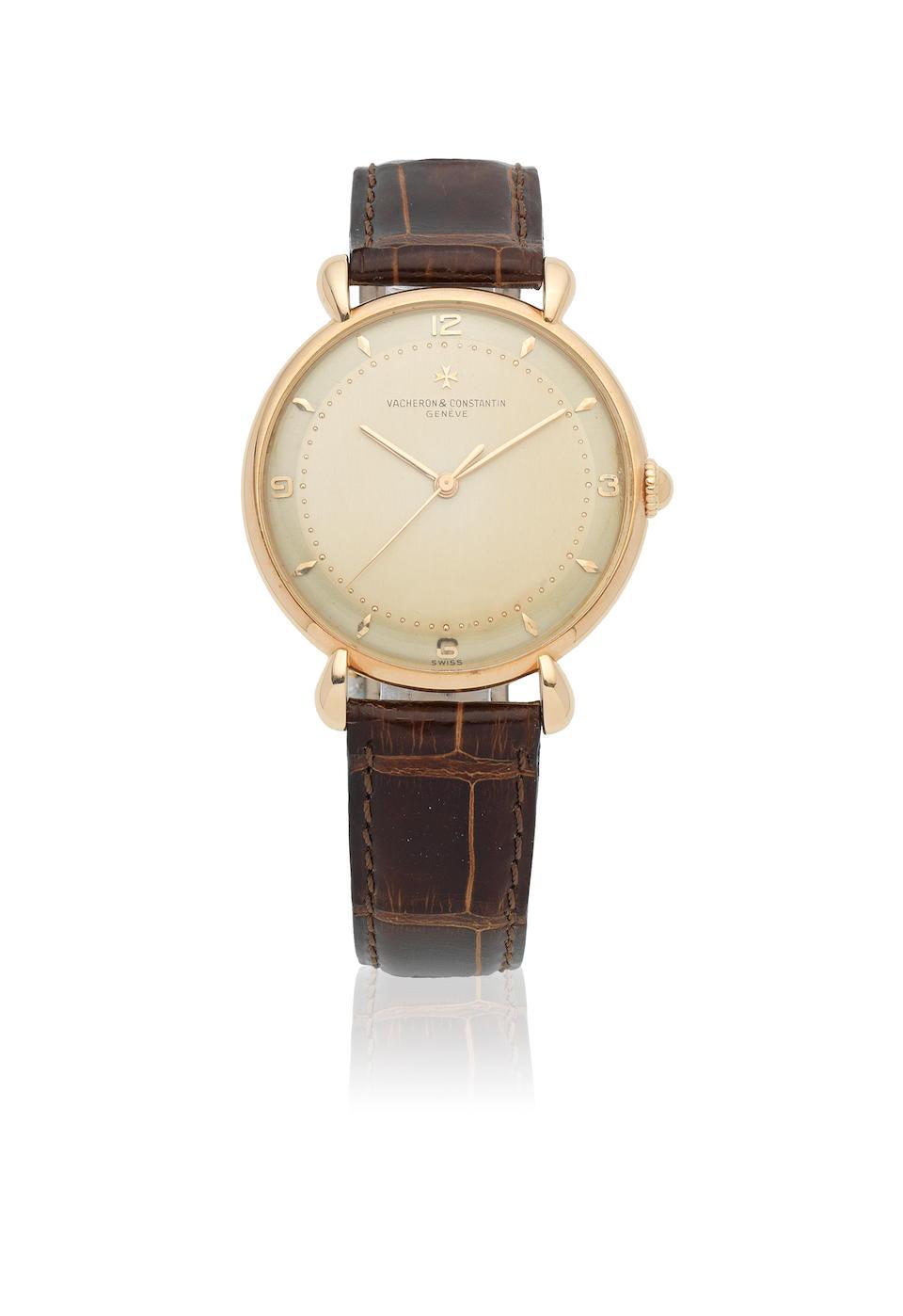Vacheron & Constantin. An 18K rose gold manual wind wristwatch with teardrop lugs Ref: 4218, Circa 1950