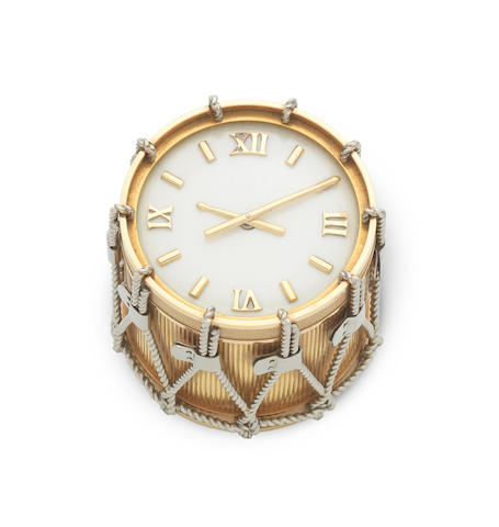 An 18K gold timepiece in the form of a drum London Hallmark for 1959