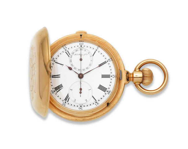 Henry Moser & Co. An 18K gold keyless wind full hunter chronograph pocket watch with 1/5th seconds Circa 1895