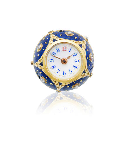 A continental gold, enamel and diamond set keyless wind ball-form watch  Circa 1900