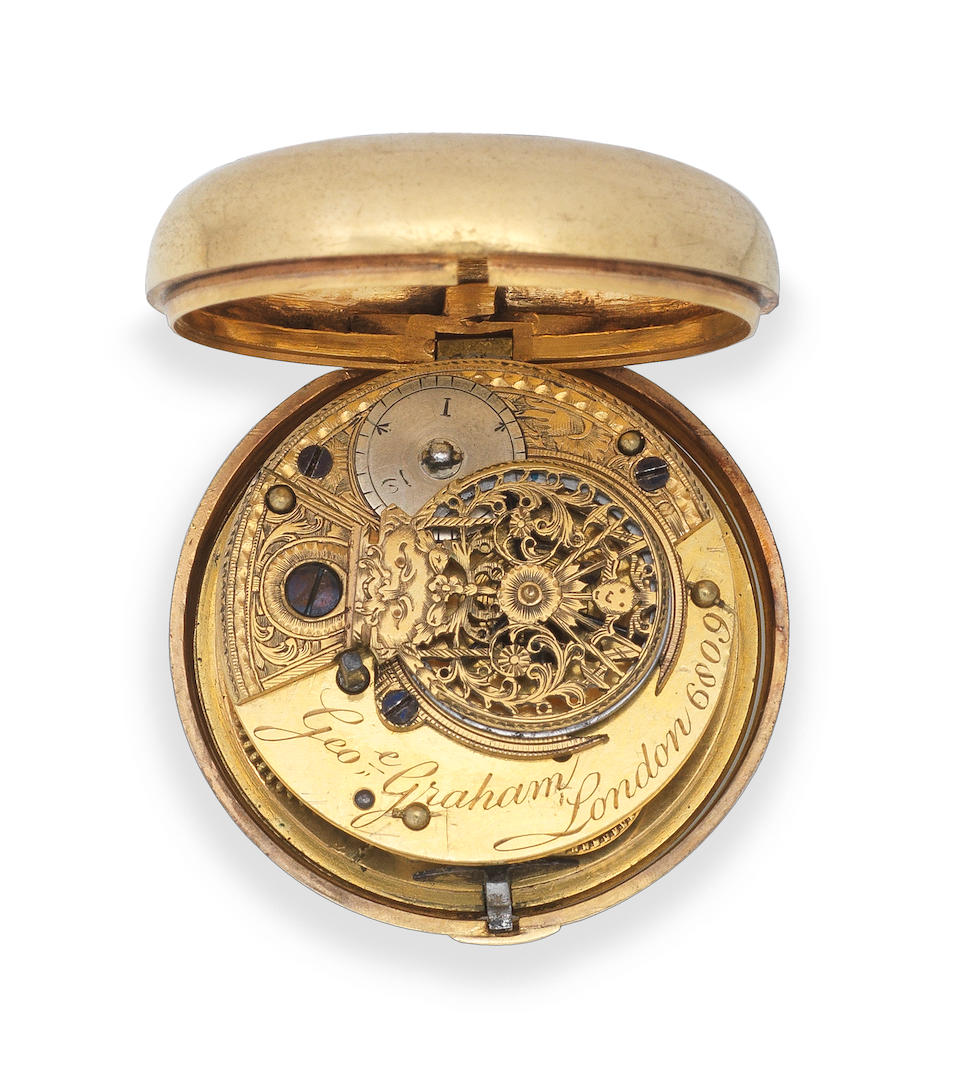 George Graham, London. A later cased gilt key wind open face pocket watch Circa 1750 and later