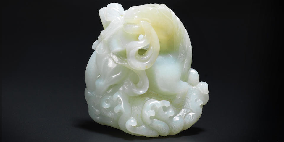 A very rare white jade carving of a mythical horse carrying scrolls, longma Qianlong (3)