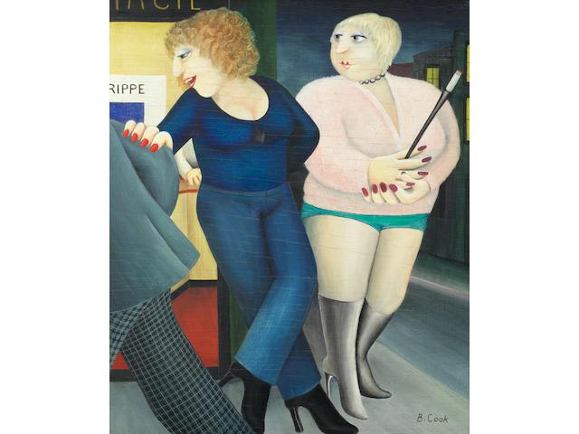 Beryl Cook (British, 1926-2008) 'Ullo Chéri