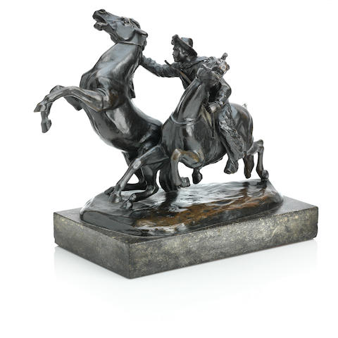 Friedrich Gornik (Austrian, 1877–1943) A bronze group of a cowboy