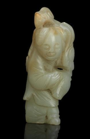A jade figure of a boy 19th century