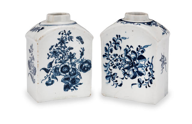 Two Lowestoft blue and white tea canisters  Circa 1775