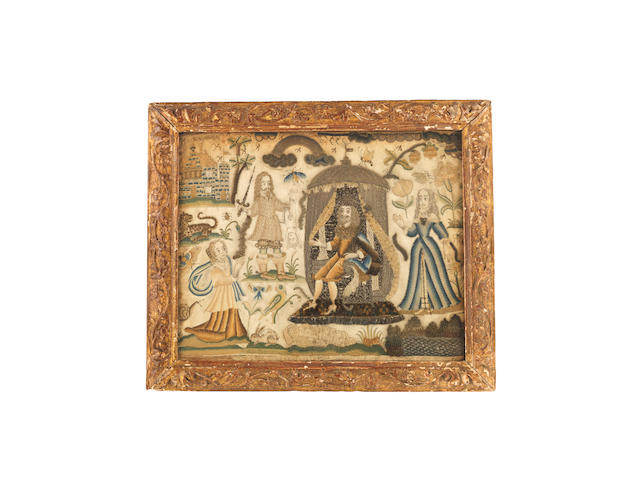 A Charles II raised work and embroidered silk picture depicting the Judgement of Solomon