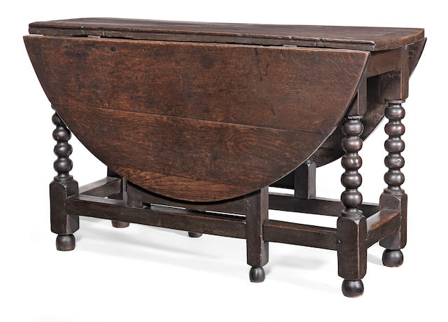 A Charles II joined oak gateleg dining table, circa 1680