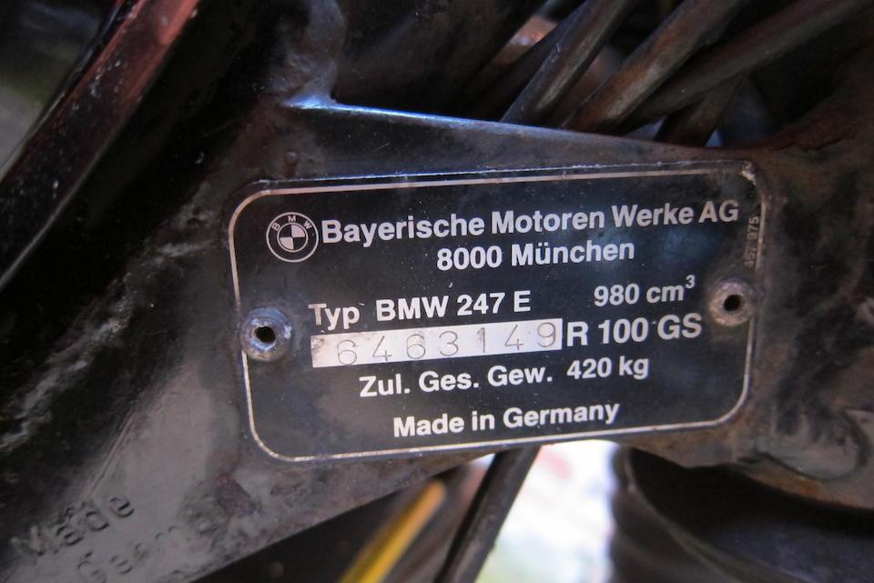 1992 BMW 980cc R100GS Frame no. 6463149 R100GS Engine no. 6463149